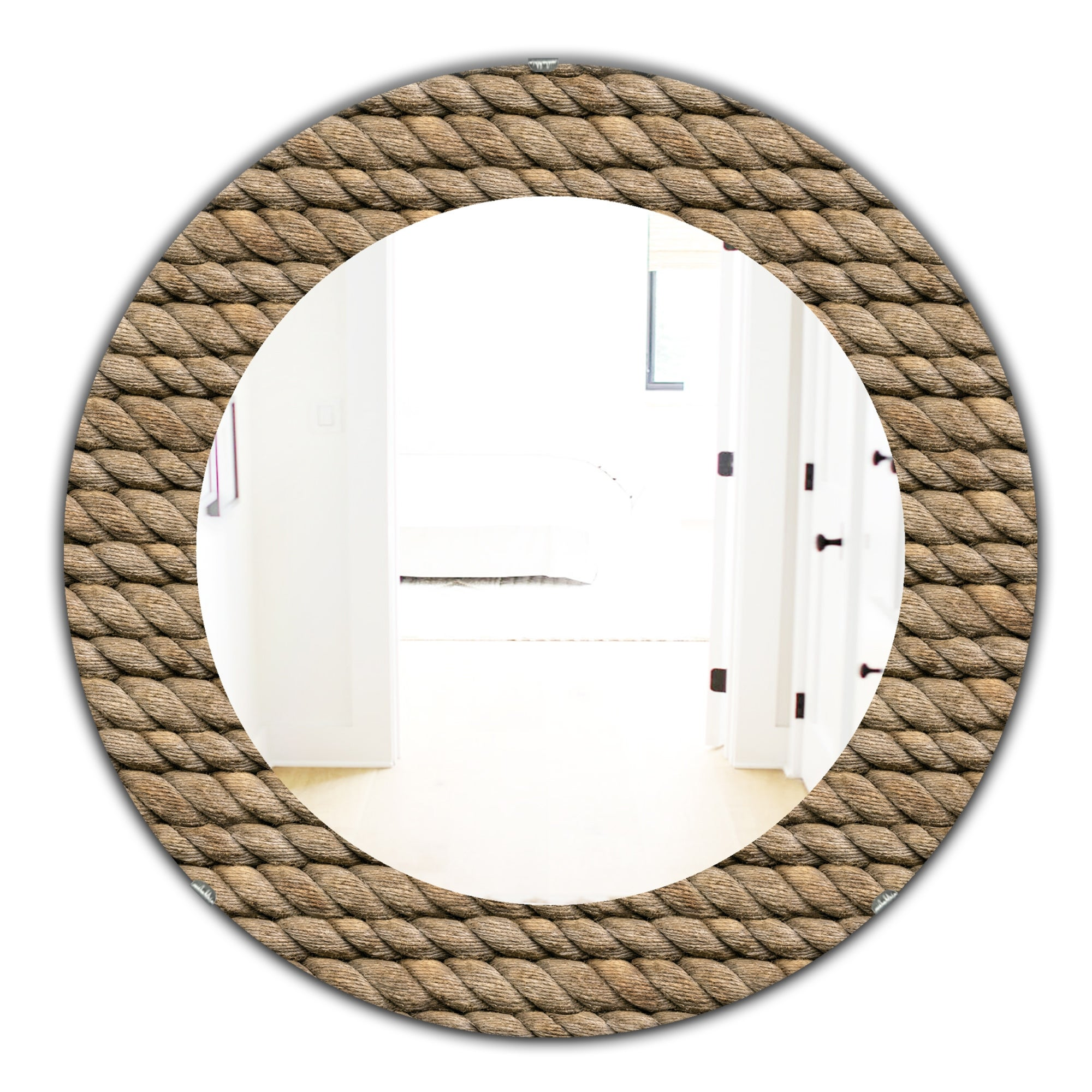 Designart Hemp Rope Farmhouse Mirror Frameless Oval Or Round Wall Mirror Brown On Sale Overstock 28022112