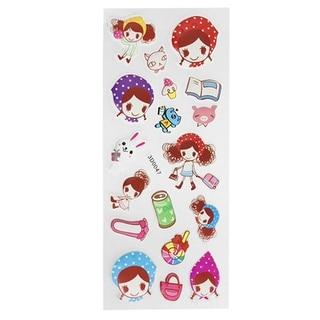 Cell Phone Handbag Decor Cartoon Girl 3D Foam Stickers 1 Pack