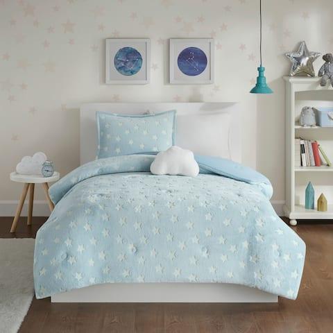 Avery Aqua Glow In The Dark Plush Comforter Set by Mi Zone