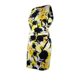 Ivanka Trump Women's Zipper-Trim Floral-Print Sheath Dress - Yellow Multi - 14