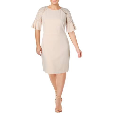 Lauren Ralph Lauren Womens Plus Cathy Party Dress Crepe Lace Trim - Belle Rose