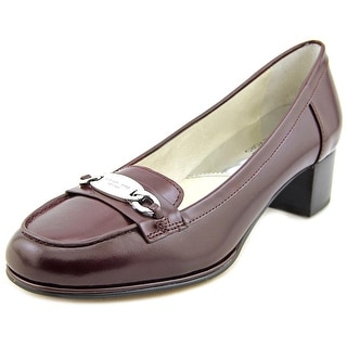 Michael Michael Kors Lainey Mid Loafer Women Moc Toe Leather Burgundy Loafer