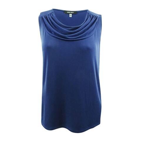 Nine West Women's Drape-Neck Shell (XL, Night Sky) - Night Sky - XL