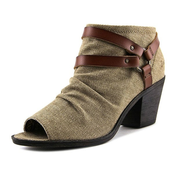 Blowfish Skraa Women Peep-Toe Canvas Brown Bootie