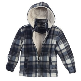Gioberti Boys Blue White Plaid Sherpa Lined Hooded Flannel Jacket