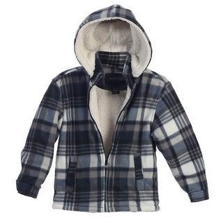 Gioberti Little Boys Blue White Plaid Sherpa Lined Hooded Flannel Jacket