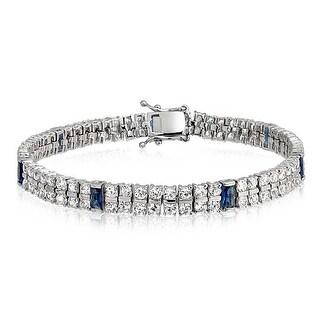 Bling Jewelry Blue CZ 2 Row Tennis Bracelet Rhodium Plated