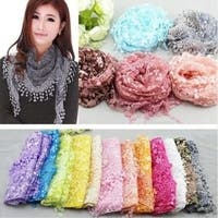 Women Lace Sheer Floral Triangle Veil Scarf Shawl Wrap