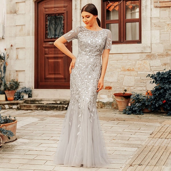 Ever-Pretty Womens Tulle Sequin Fishtail Elegant Long Formal Evening Party Prom Dress 07707