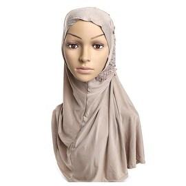 Muslim Gauze Lace Zircon Kerchief Scarf khaki