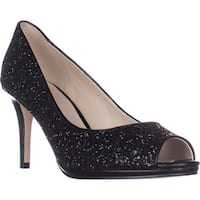Cole Haan Davis Open Toe Pumps, Black Glitter - 8.5 us