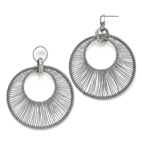 Chisel Stainless Steel Polished Wire Circle Post Dangle Earrings