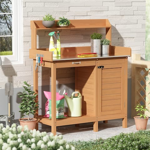 Garden Wooden Potting Bench Tables Work Station Table