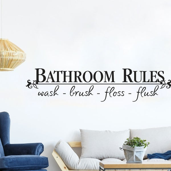 "Bathroom Rules Letter PVC Vinyl Sticker Decal 22.8""x5"". Opens flyout."