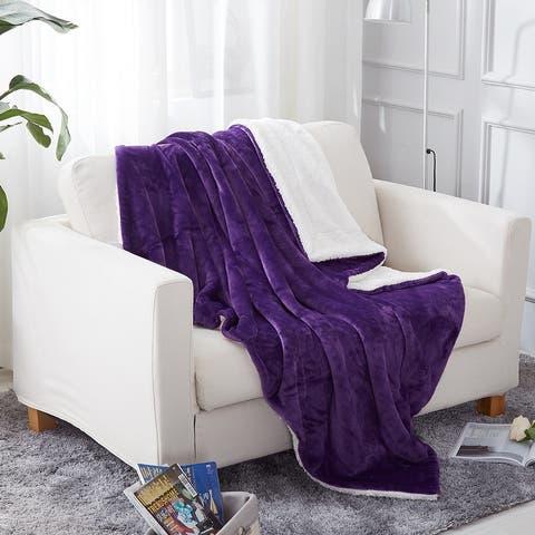 Sherpa Throw Blanket Plush Fleece Couch Blankets