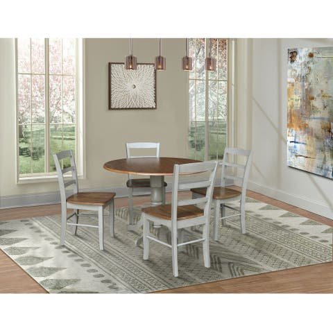 """42"""" Dual Drop Leaf Pedestal Dining Table with 4 Madrid Ladderback Chairs - 5 Piece Dining Set"""