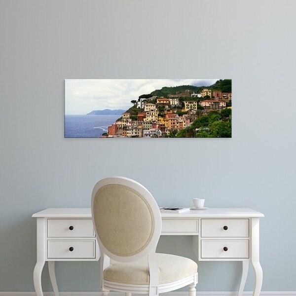 Easy Art Prints Panoramic Images's 'Cliffside buildings of Cinque Terre region, Manarola, Italy.' Premium Canvas Art