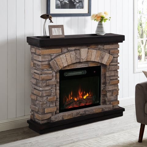 36-inch Wide Faux Stone Electric Fireplace Mantel