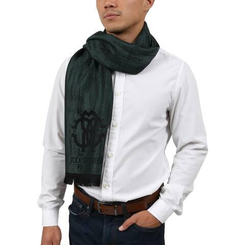 Roberto Cavalli ESZ052 04000 Green Wool Blend Grunge Mens Scarf - 40