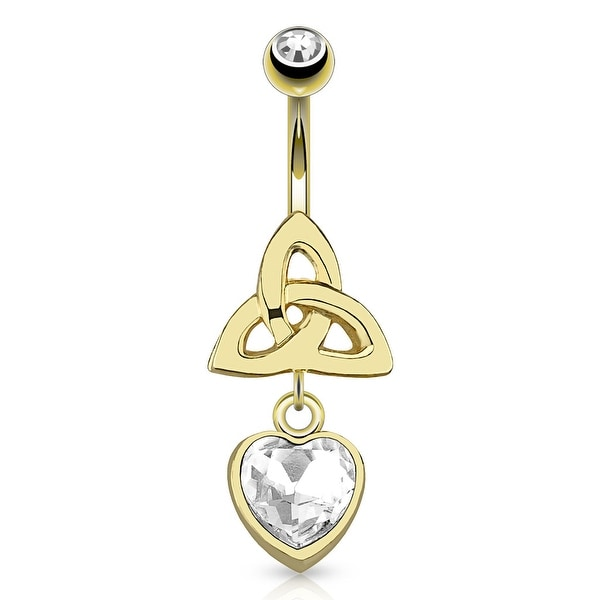 Celtic Knot With Single Clear Gem Heart Dangle gold-plated Navel Belly Button Ring