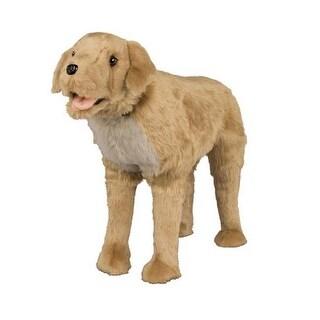 """41"""" Soft Stuffed Plush Standing Golden Retriever Footrest Ottoman - Brown"""
