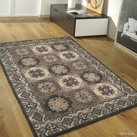 "Grey Allstar Hand-Made High Quality Extra Clean Wool Area Rug. Authentic. Classical. Patchwork Designs (7' 11"" x 10' 11"")"