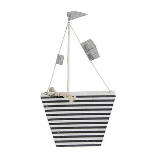 """8.75"""" Cape Cod Inspired White and Gray Striped Boat Table Top Decoration"""