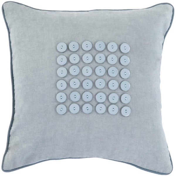 "18"" Button Balneal Blue and Gray Decorative Throw Pillow- Down Filler"