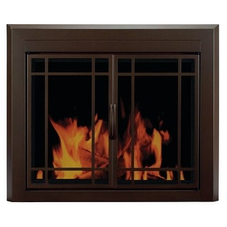 "Pleasant Hearth EN-5502  Enfield Prairie 31"" H x 43.5"" L Large Cabinet Style Fireplace Screen with 9-Pane Smoked Glass Doors"