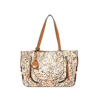 Jessica Simpson Womens Kendall Tote Handbag Faux Leather Animal Print - Large