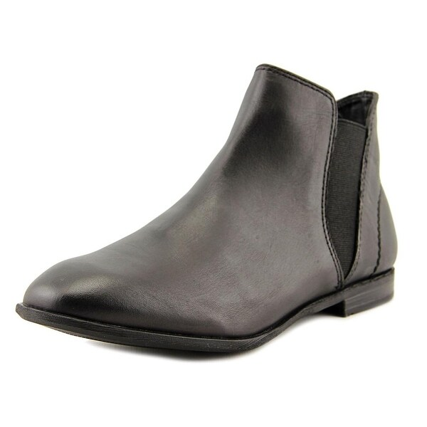 ShoeMint Eunice Women Round Toe Leather Black Ankle Boot