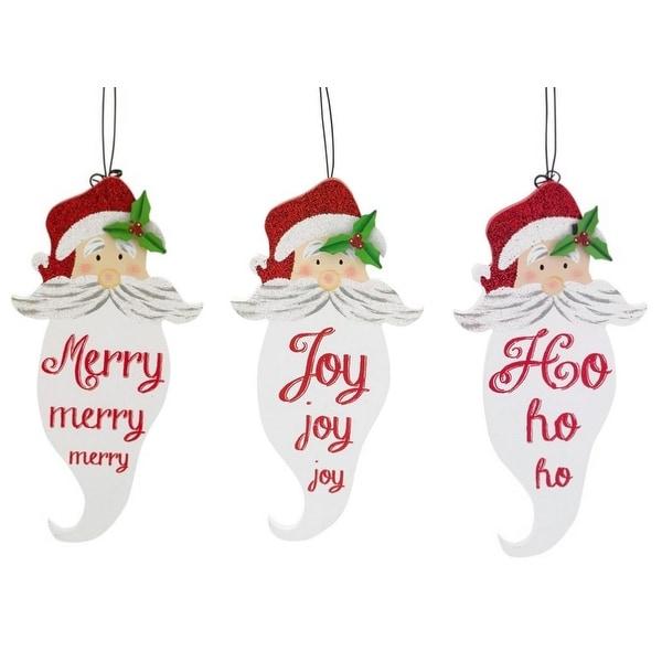 "Pack of 12 Santa Claus ""Merry, Joy, and Ho Ho Ho"" Beard Christmas Ornaments 7.5"" - RED"