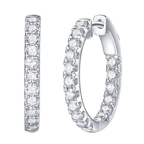 Lab Grown Diamond Inside Out Hoop Earrings, 1.18 Ctw 10K Solid Gold by Smiling Rocks