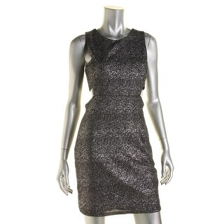 Aqua Womens Cutout Shimmer Cocktail Dress - L