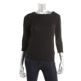 NY Collection Womens Cotton Ribbed Trim Pullover Sweater - L