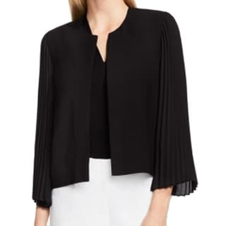 Vince Camuto NEW Black Women's Size 8 Pleated Collarless Jacket