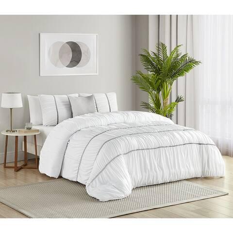 Smocked Stripe Cable Braid Ultra Soft 4 PC Comforter Bedding Set
