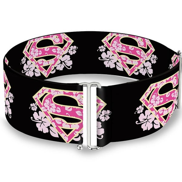 Super Shield Hibiscus Design Black Pink Cinch Waist Belt ONE SIZE