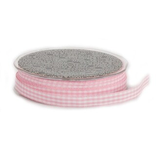 """Soft Pink and White Vichy Check Woven Edge Craft Ribbon 3/8"""" x 74 Yards"""
