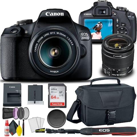 Canon EOS 2000D / Rebel T7 DSLR Camera with 18-55mm Lens + Creative