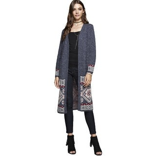 NE PEOPLE Womens Print Hem Line Patterned Long Cardigan [NEWJ197]