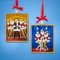 """Pack of 6 Glass Radio City Rockettes with Santa and Trio Rectangle Christmas Ornaments 4.25"""" - BLue"""