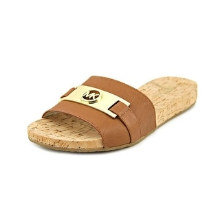 Michael Michael Kors Warren Slide Women Open Toe Leather Brown Slides Sandal