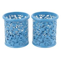 Metallic Cylinder Shaped Stationery Pen Holder Box Container Blue 2Pcs