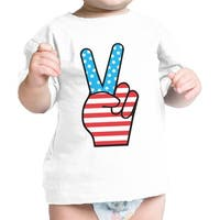 Peace Figure Sign American Flag Baby T-Shirt For Independence Day