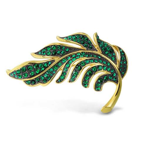 Large Leaf Forest Green Crystal Gold Plated Statement Brooch Pin For Women