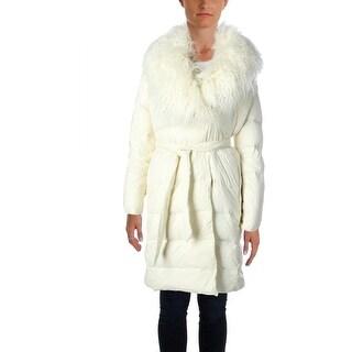 Lauren Ralph Lauren Womens Puffer Coat Faux Fur Outerwear