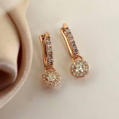 Auriya 3/4ctw Round Halo Diamond Dangle Earrings 14k Rose Gold