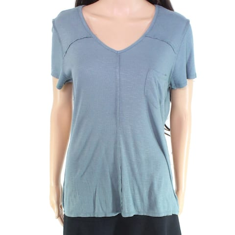 Eyeshadow Women's Top Tee V-Neck Ribbed Pocket Blue Size Large L Knit
