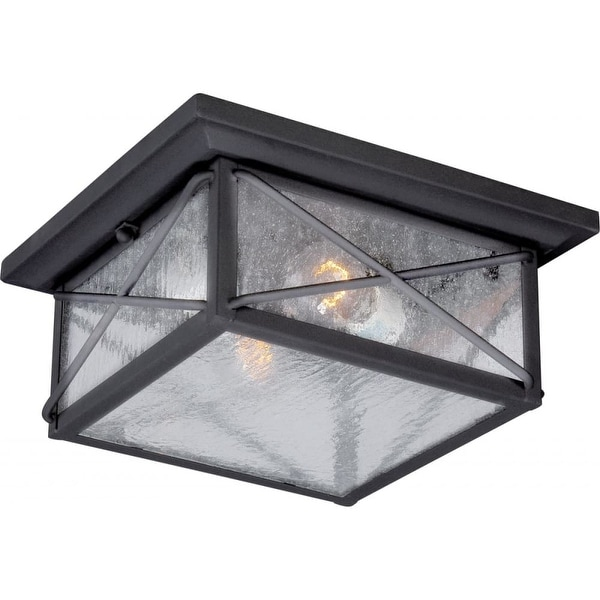 "Nuvo Lighting 60/5626 Wingate 2-Light 11-1/4"" Wide Outdoor Flush Mount Square Ceiling Fixture with Seedy Glass Shade"